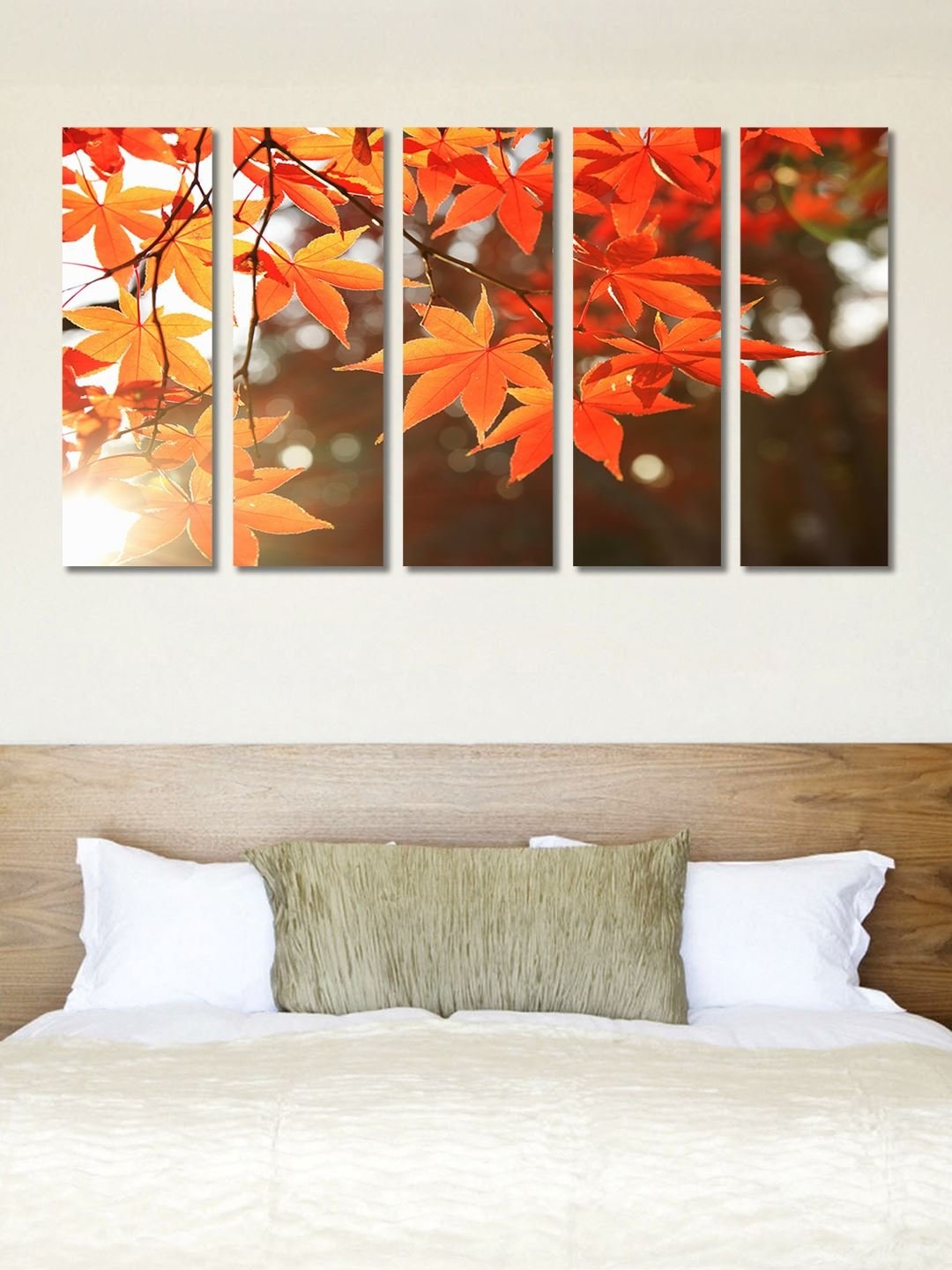 999store Multiple Frames Printed Wooden Frame Yellow Leaves Wall Art
