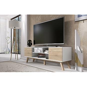Vero Bois Meuble Tv Moderne 150 Cm Corpus Blanc Mat Front