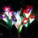 swonuk Lampara Solar Flores,Juego de 3 Luces Solares con 12 Flores de Lirio Luces Exterior Lampara Energía Solar para Jardín,