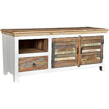 Woodkings® TV-Bank Perth weiß, 2türig, recyceltes Massivholz antik ...