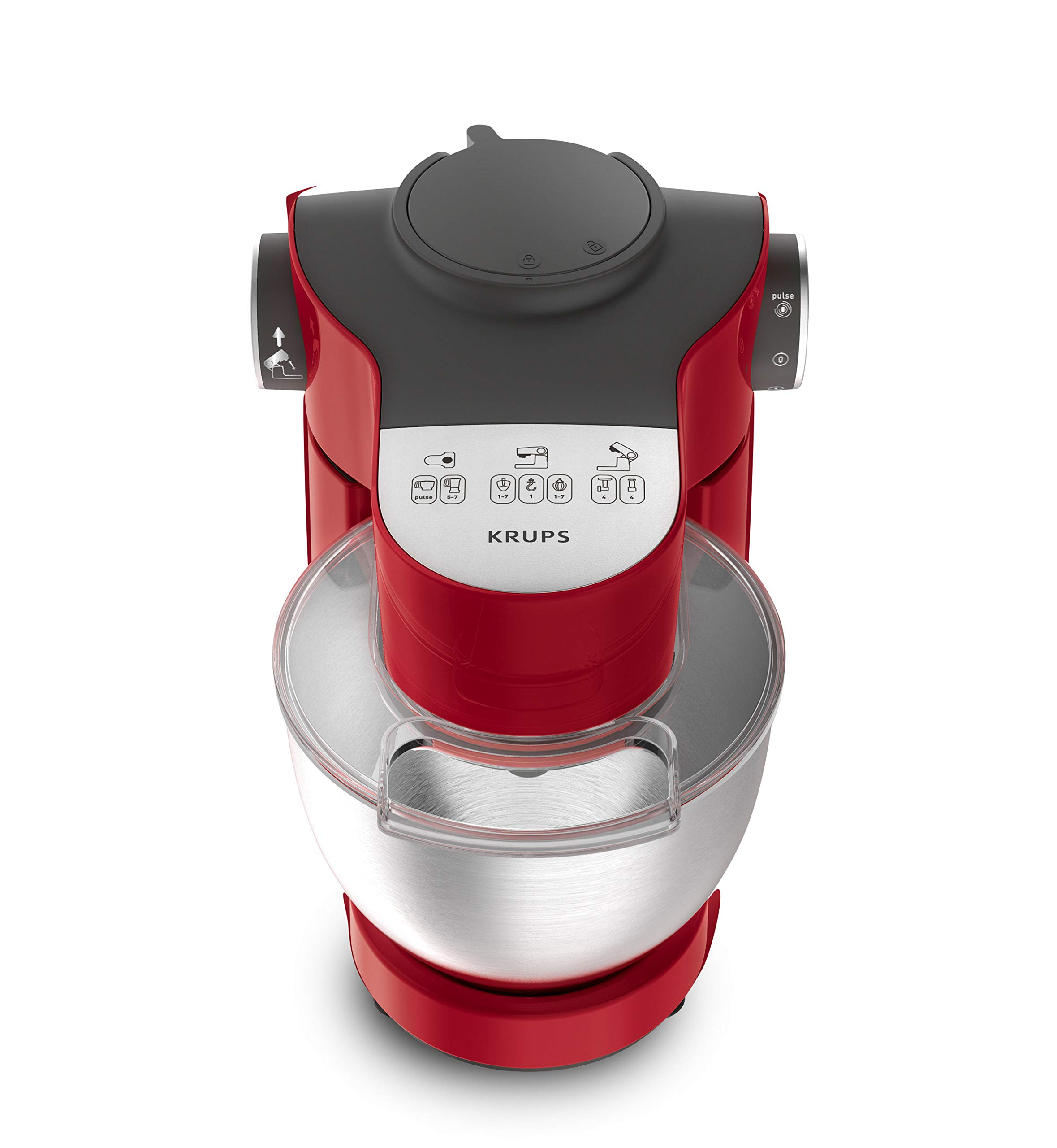 Krups-KA313511-Master-Perfect-Plus-Kchenmaschine-1000-Watt-Gesamtvolumen-4l-inkl-Standmixer-Back-Set-Schnitzelwerk-mit-Reibekuchenaufsatz-rot