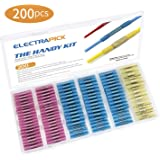 Heat Shrink Wire Connector Butt Terminals Kit, 200PCS Crimp Connectors Waterproof Insulated Electrical Terminals Marine Automotive Cable electrapick(3 Colors / 3 Sizes)