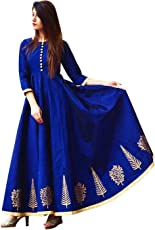 SANTSAYAA CREATION Women's Tapeta Silk Long Frocks and Gowns, Free Size Semi-stitched (Royal Blue, royal blue cetbarriiii)