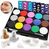 HOWAF Pinturas Cara para Niños, Pintura Facial, Seguridad no tóxica,15 Colores + 60 Plantillas + 2 Glitter + 2 Pinceles + 8 E