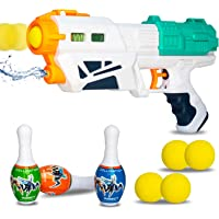 WISHKEY 2 in 1 Bowling & Water Shooting Gun with Soft Foam Balls Bullets,Bowling Pins and Water Spray Dual Function…