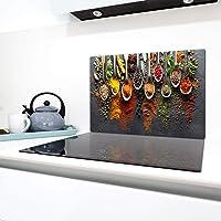 QTA   Copri piano cottura 80 x 52 cm copertura per piano cottura in vetroceramica 1 pezzo universale a induzione per piastre di cottura paraspruzzi tagliere in vetro temprato come decorazione Spezie