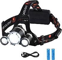 VicTsing Linterna Frontal LED, Alta Potencia 6000 Lúmenes, Tiene 4 Tipos de Luz,La batería 18650 Dura Alrededor de Las 6...