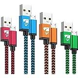 Cable Micro USB Aioneus 4Pack [0.5M 1M 1.5M 2M] Carga Rápida Cable Android Nylon Trenzado Cable Cargador Movil para Samsung S
