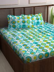 Story@Home Candy 120 TC Cotton Double Bed Sheet With 2 Pillow Covers    Geometic