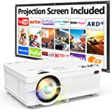QKK AK-81 Projector With Projection Screen, 6500 Lumens Mini Projector 1080P Full HD Supported, HD Video Projector…