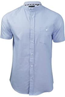 Tokyo Laundry Mens Scandi Shirt Poplin Stripe Pure Cotton Grandad Collared Top