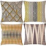 WAZA Set van 4 kussenslopen, zacht, vierkant, decoratie voor bank, bed, thuis, klassieke stijl, 45 x 45 cm