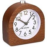 Navaris Analog trä väckarklocka med snooze - Retro klocka halv rund med urtavlarm - Tyst bordsklocka utan tickande - Naturlig