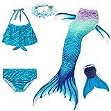 Cola de Sirena para Natación Traje de Baño 5pcs Mermaid Bikini Establece para Niña Disfraz de Sirena Princesa Cosplay Conjunt