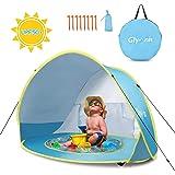 Glymnis Tenda da Spiaggia Bambini Pop Up con Mini Piscina Tenda per Neonati Pieghevole Portatile Protezione Solare UPF 50+,Blu