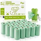 BIOOK Sacs à Déjections Canines 100% Biodégradables avec 1 Distributeur, Matériaux à Base de Fécule de maïs+PLA+PBAT Composta
