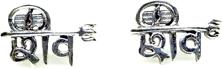 Nemichand Jewels Pure Silver 925 (Chandi) Shiv Studs/Earring For Men