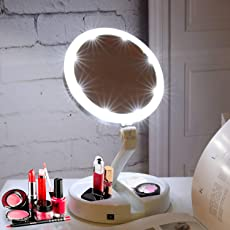Kurtzy Double Sided Portable Flexible LED Vanity Folding Rotating Makeup Mirror Magnifier USB Charging Travel Desktop