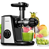Bonsenkitchen juicer Kauw Slow Juicer, Rustige motor, omkeerfunctie, koude pers-juicer voor selderie, groenten en fruit, met