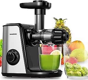Estrattore di Succo a Freddo, Bonsenkitchen spremiagrumi a lenta macinazione con due velocità di regolazione, Estrattore Frutta Verdura motore silenzioso e facile da pulire fredda per verdura e frutta