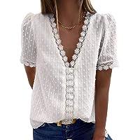 Jolicloth Maglietta Sexy Donna T-Shirt a Maniche Corte Elegante Camicetta con Scollo a V in Pizzo all'Uncinetto Camicie…