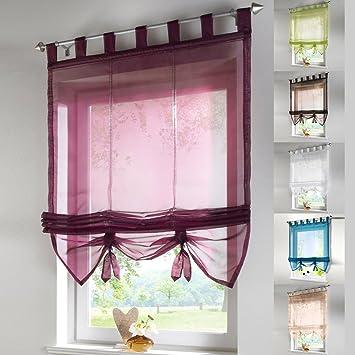 Amazonde Raffrollo Schlaufen Gardine Vorhang Transparent Für - Raffrollo fur wohnzimmer