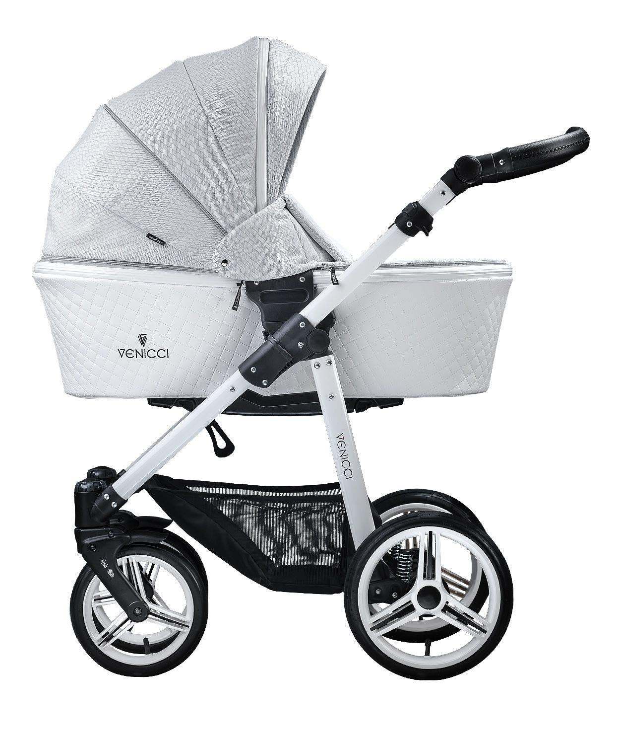 Venicci Pure 3-in-1 Travel System - Stone Grey - with Carrycot + Car Seat + Changing Bag + Apron + Raincover + Mosquito Net + 5-Point Harness and UV 50+ Fabric + Car Seat Adapters + Cup Holder  3 in 1 Travel System with included Group 0+ Car Seat Suitable for your baby from birth until 36 months 5-point harness to enhance the safety of your child 2