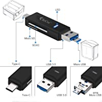 SeCro SD Card Reader, 3-in-1 USB 3.0/USB C/Micro USB Card Reader - SD, Micro SD, SDXC, SDHC, Micro SDHC, Micro SDXC Memory Card Reader for MacBook PC Tablets Smartphones with OTG Function (Black)
