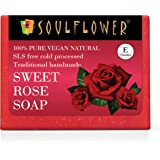 Soulflower Sweet Rose Soap – Handmade, 100% Pure, Natural & Cold processed Grade 1 BIS Standard Premium & Luxurious Soap with