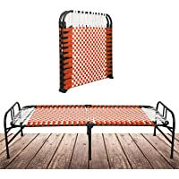SOUTH WHALES - Trust Never Sinks Single Size Metal Folding Bed for Sleeping Foldable Cot Without Storage 6 x 3ft (Orange…