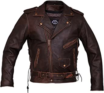 TPL Classic Men's Premium Brown Biker Motorcycle Leather Jacket (2XL)