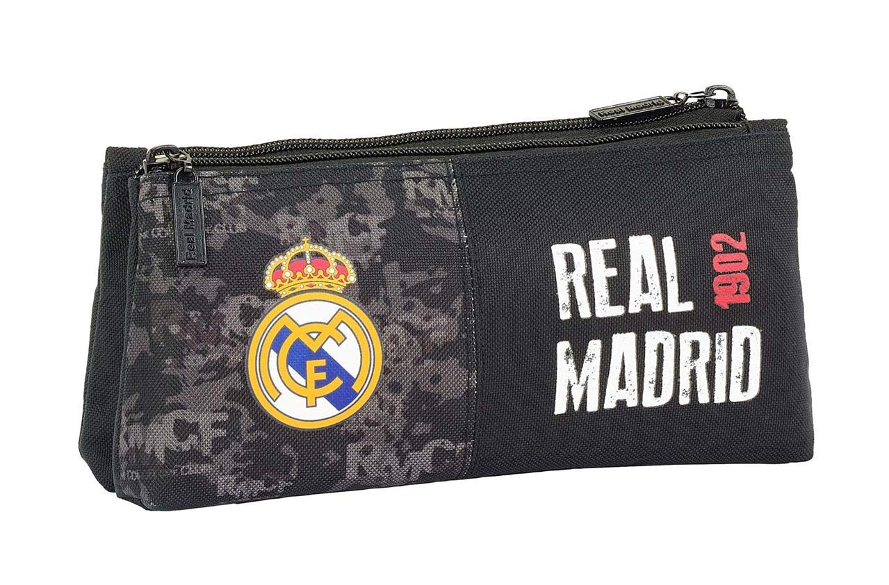 Real Madrid Black Oficial Mochila Escolar Infantil Cremallera Simple 220x80x100mm