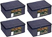 Homestrap Cotton Quilted Large Saree Cover (Pack of 4, Navy Blue)