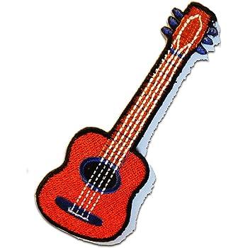 rot Aufnäher // Bügelbild Gitarre Patches Aufbügeln 13,2 x 4,7 cm