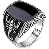 Scorpion Solid 925 Sterling Silver Turkish Handmade with Onyx Stone Luxury Men's Ring