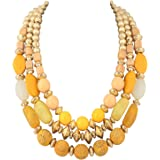 BOCAR 3 Layer Chunky Statement Beaded Necklace Fashion Multi Layer Women Collar Necklace