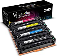 Valuecolor Compatible Toner Cartridge Replacement for HP 201X 201A CF400X CF401X CF402X CF403X CF400A Used in Color Laserjet