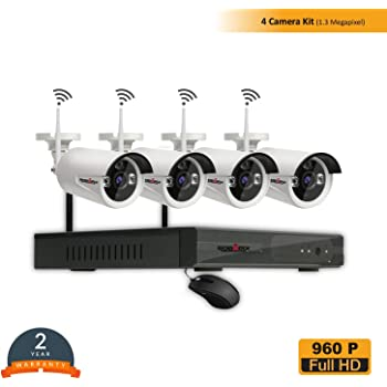Roborix Wireless IP NVR CCTV Security Camera Kit/ 4 Channel NVR/720P HD Infrared Bullet Cameras Day/Night Vision/Weather Proof /Indoor/Outdoor