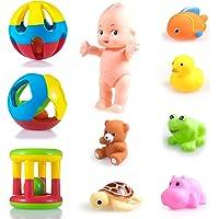 WISHKEY 10 Pcs Combo Pack of Shake & Grab Rattles and Chu Chu Animal Shape Bath Toys Non Toxic BPA Free Set for Babies…