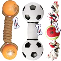 Petlicious & More® 3 Toy Combo - Squeaky Toy Football I Plastic Ball Dumbbell I 2 Knot with Tennis Ball Chew Toys for…