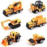 لعبة عربات هندسية مؤلفة من 6 قطع العب عربات انشاءات هندسية مصبوبة مصنوعة من خليط معدني للاولاد والفتيان - جرافات وجرار ورافعة