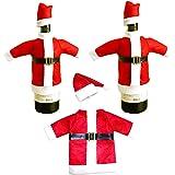 sylbx 3 Pezzi Coperchio della Bottiglia Vino Natale Decorazione Natalizia Sacchetto Vino Bottiglia di Vino Decorazioni coprib