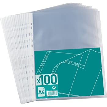 NNA - 100206882 - 100 Pochettes Perforées Polypropylène A4 Incolore