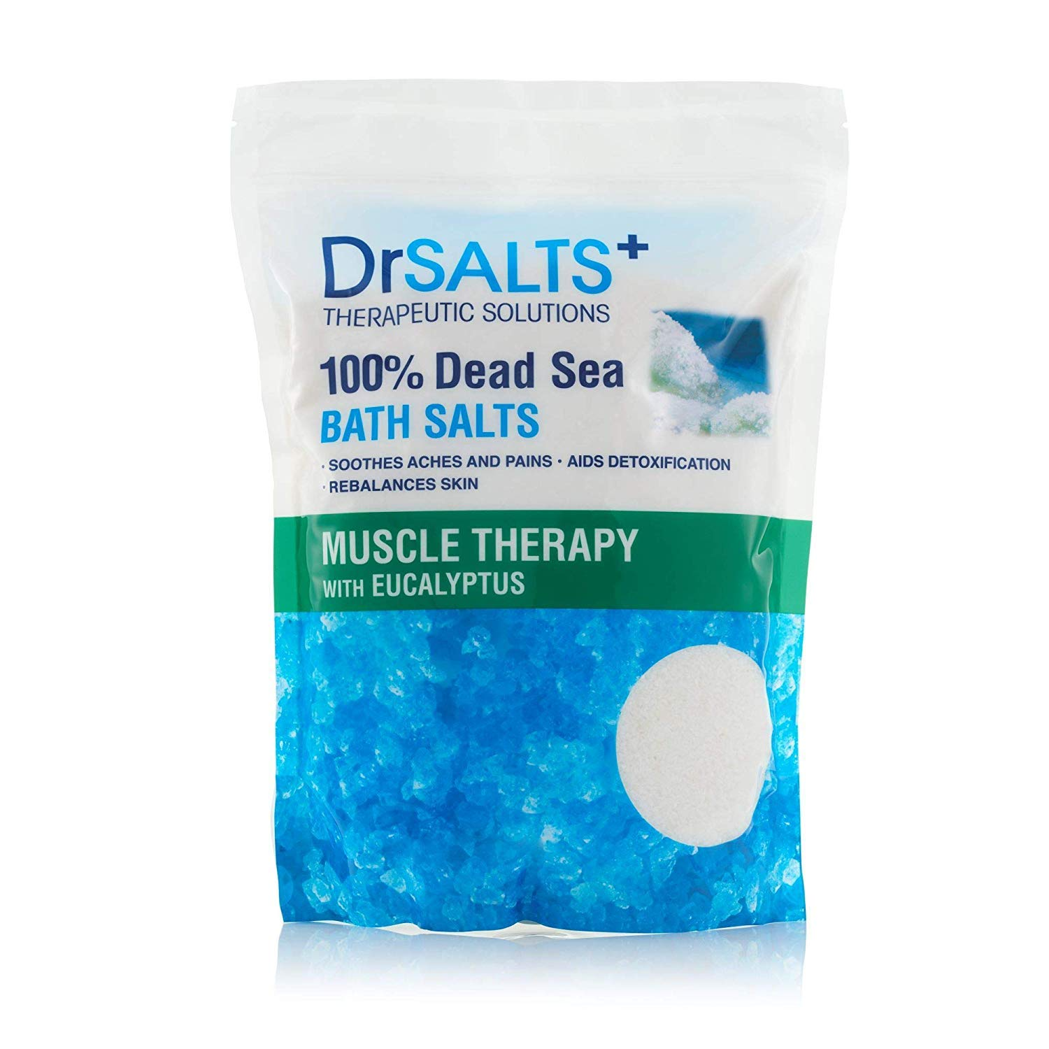 Drsalts 100% Dead Sea Bath Salts with Eucalyptus Muscle Therapy with Natural Minerals, Soothe Muscle Aches & Pains, Eases Strains & Stiffness After Working Out. Flush Out Toxins. Recover Faster 2kg