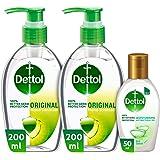 Dettol Anti-Bacterial Sanitizer - Pack of 3 - Twin pack Original 200ml + Moisturizing Sanitizer 50ml