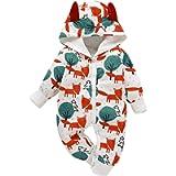 Borlai Newborn Jumpsuit Cotton Bodysuit Cute Animal Print Outfit Playsuit 0-18 Months