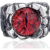 Elfasio Men Stainless Steel Rings Red The Devil Dragon Eye/Eyes of Hell Demon Gothic Biker Vintage Ring Size 14