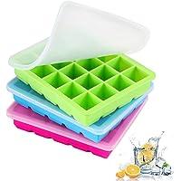 LessMo 3 Paquets Bacs à Glaçons, Moules à Glaçons Silicone 20 Cavités avec Couvercle Amovible Résistant Aux…