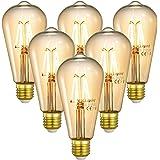 Linkind Vintage LED E27 4W 400lm Lampe, Lampe halogène 40W remplacée, Ampoule Edison Blanc Chaud 2200K, Ampoule Décorative Ré