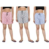 CIERGE Women's Cotton Printed Shorts Multicolor Free Size (Pack of 3)